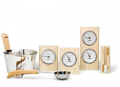 Accesorii pentru Spa / Set accesorii din lemn de mesteacan si inox