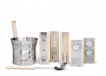 Accesorii pentru Spa / Set de accesorii produse din aluminium cu detalii din lemn de culoare deschisa 1