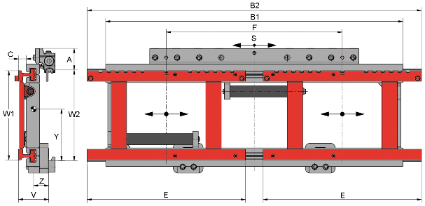 Desene tehnice pentru suport de furci, translatii laterale KAUP - Poza 2