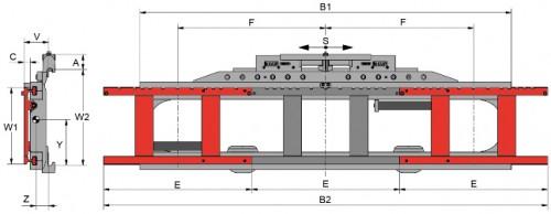 Prezentare produs Desene tehnice pentru suport de furci, translatii laterale KAUP - Poza 4
