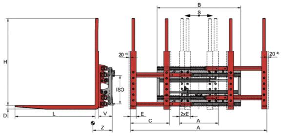 Desene tehnice pentru sisteme multi palet (multi furci) KAUP - Poza 1