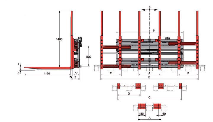 Desene tehnice pentru sisteme multi palet (multi furci) KAUP - Poza 2