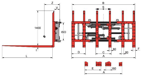 Desene tehnice pentru sisteme multi palet (multi furci) KAUP - Poza 3