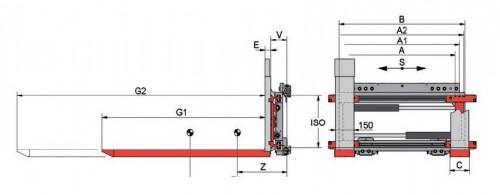Prezentare produs Desene tehnice extensii, impingatoare, furci telescopic KAUP - Poza 2