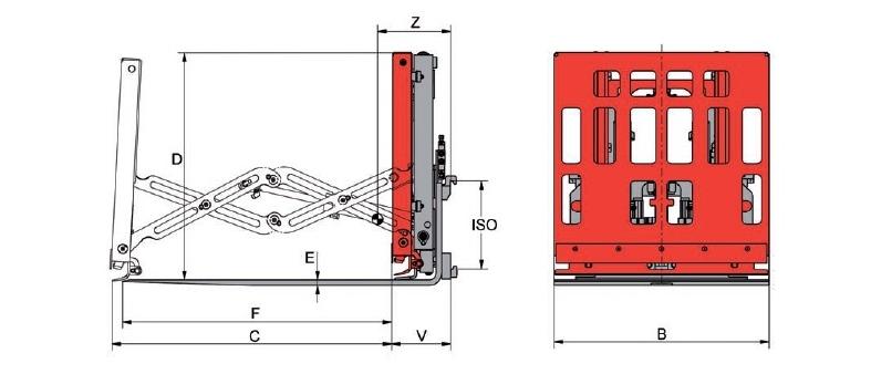 Desene tehnice extensii, impingatoare, furci telescopic KAUP - Poza 3