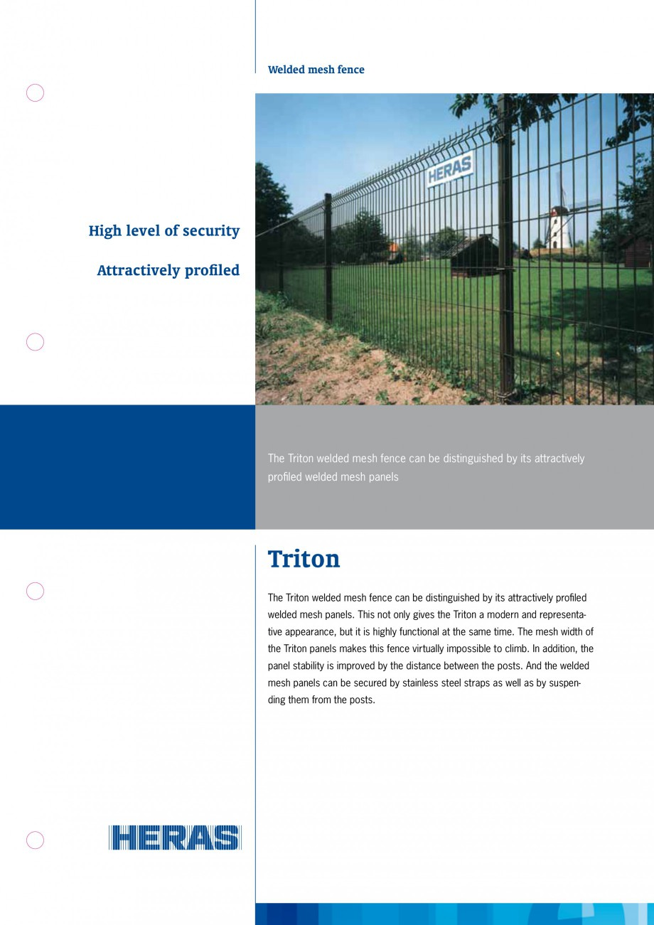 Pagina 1 - Panouri bordurate 3D HERAS Triton Fisa tehnica Engleza Welded mesh fence  High level of...
