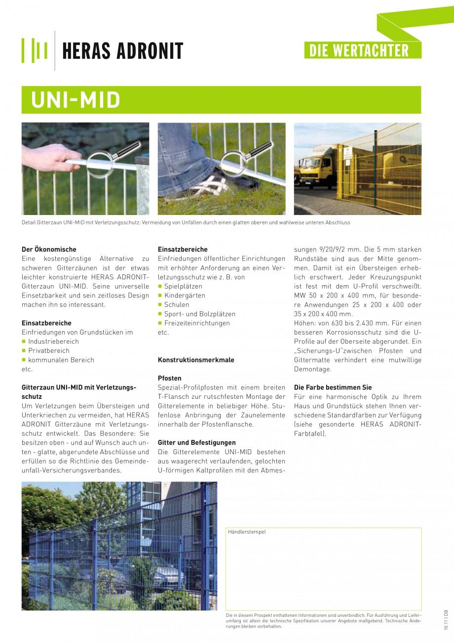 Pagina 2 - Panouri rigide  HERAS UNI-MID Fisa tehnica Germana enlose Anbringung der Zaunelemente...