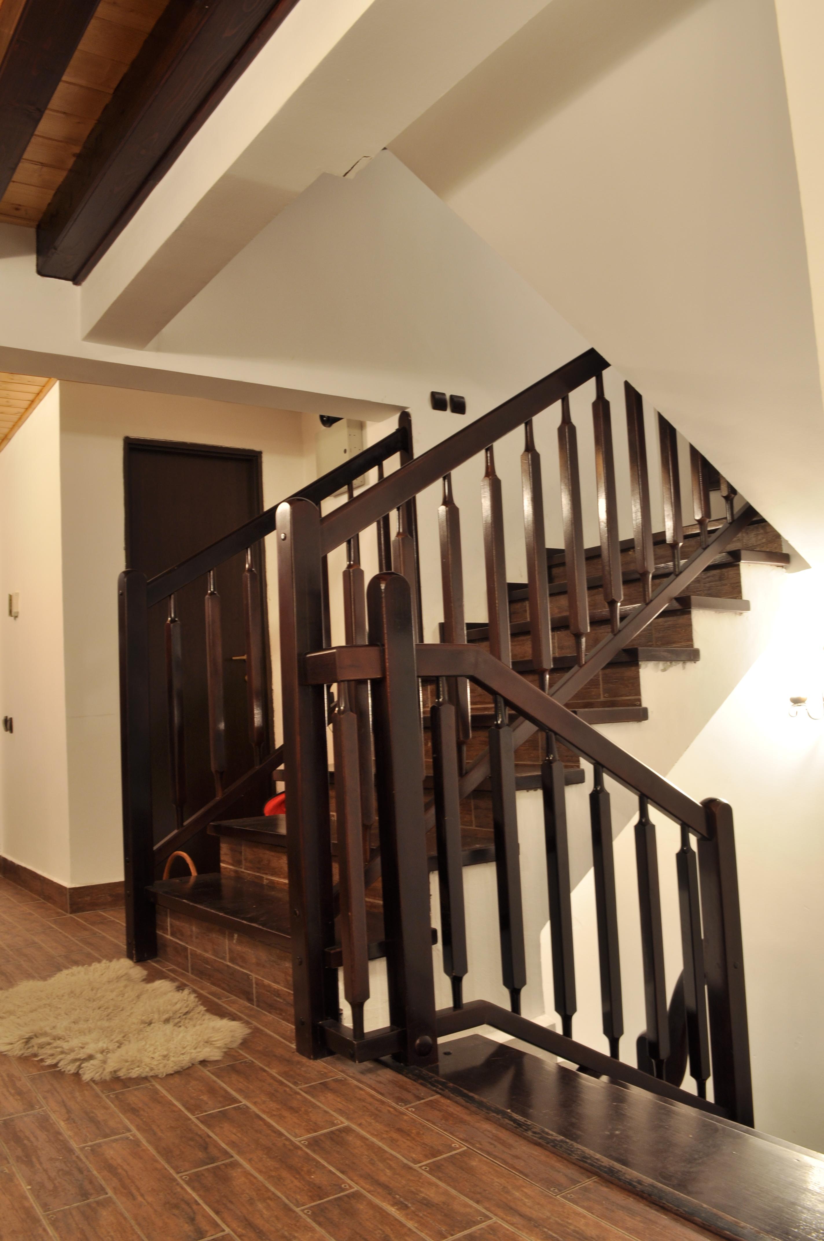 Trepte si Balustrada din lemn culoare wenghe - Scara din beton dreapta TURSO HOLZ - Poza 6