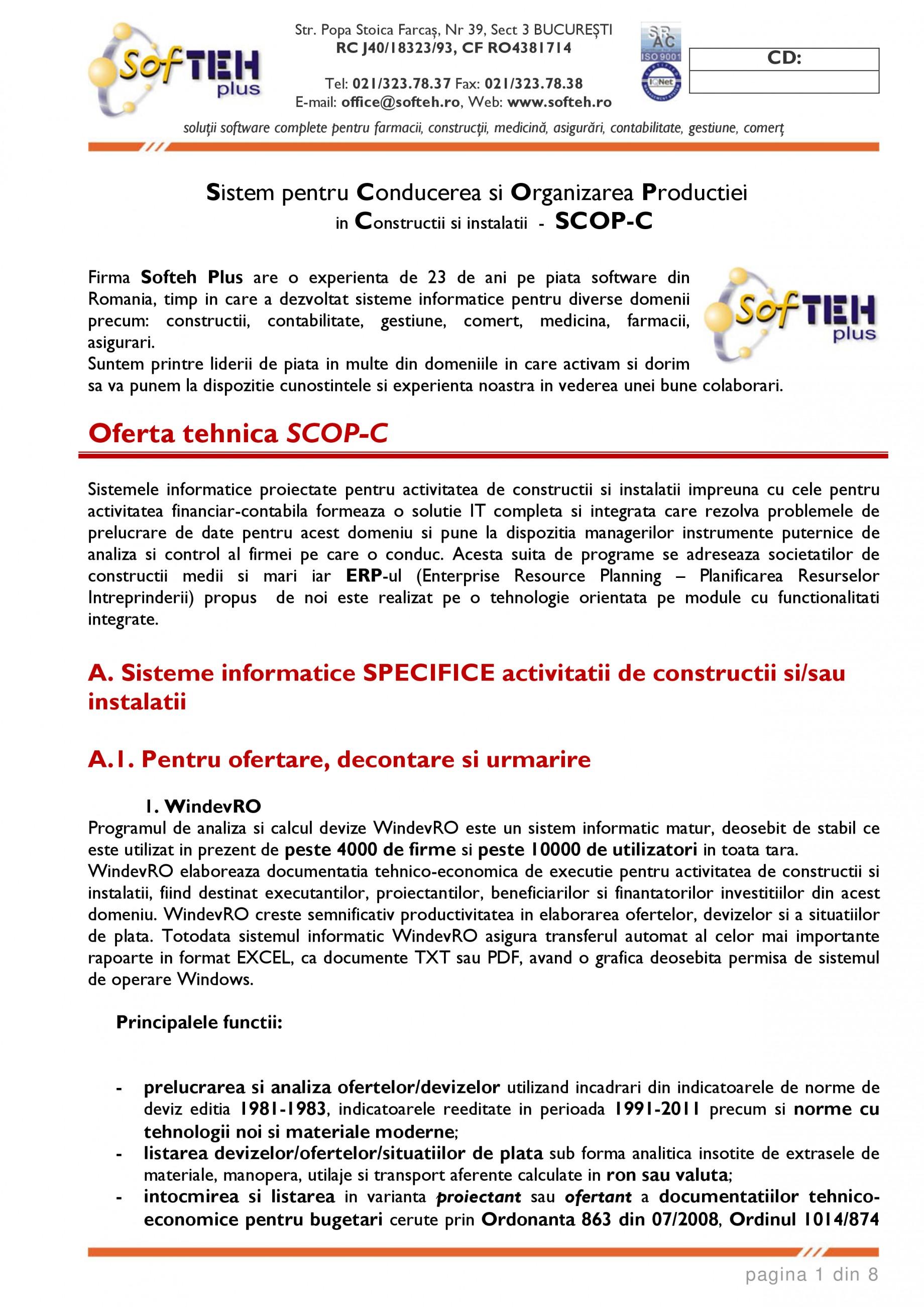 Catalog, brosura SCOP-C - Sistem pentru conducerea si organizarea productiei in constructii si instalatii SOFTEH PLUS Sistemul ERP - Planificarea Resurselor Intreprinderii SOFTEH PLUS  - Pagina 1