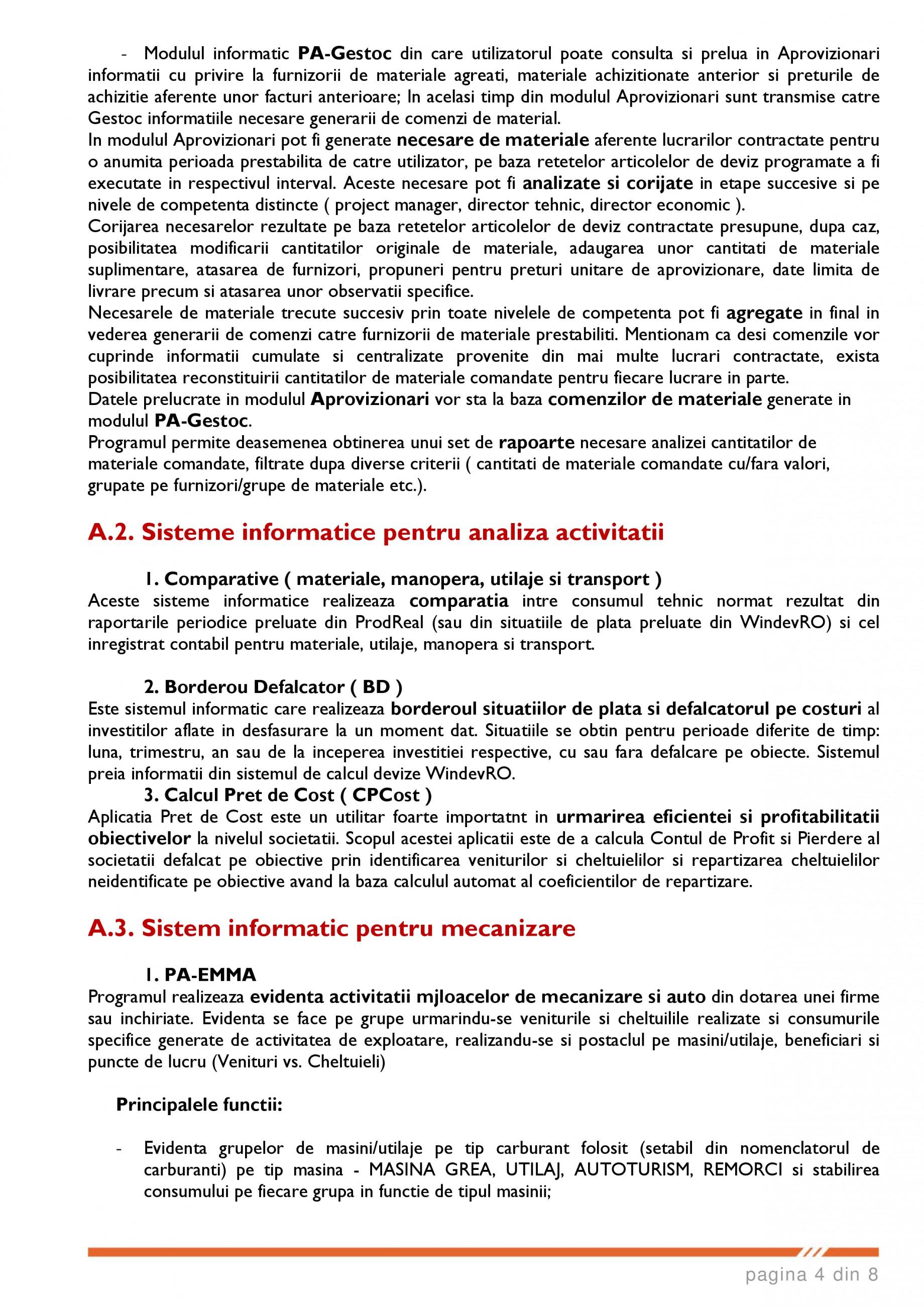 Catalog, brosura SCOP-C - Sistem pentru conducerea si organizarea productiei in constructii si instalatii SOFTEH PLUS Sistemul ERP - Planificarea Resurselor Intreprinderii SOFTEH PLUS  - Pagina 4