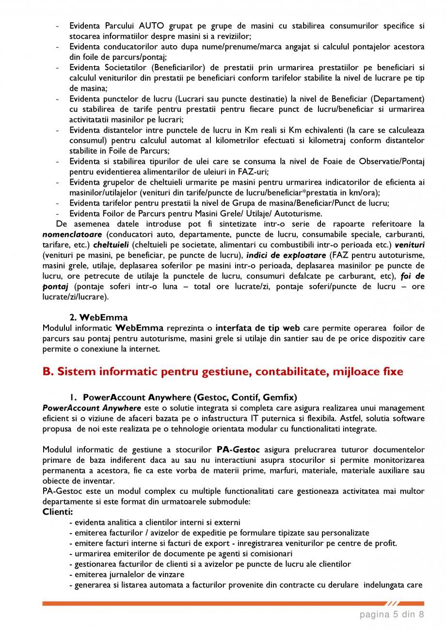 Catalog, brosura SCOP-C - Sistem pentru conducerea si organizarea productiei in constructii si instalatii SOFTEH PLUS Sistemul ERP - Planificarea Resurselor Intreprinderii SOFTEH PLUS telor modificate de articole de deviz /norme compuse, dintr-un deviz catre alte devize; evidentierea... - Pagina 5