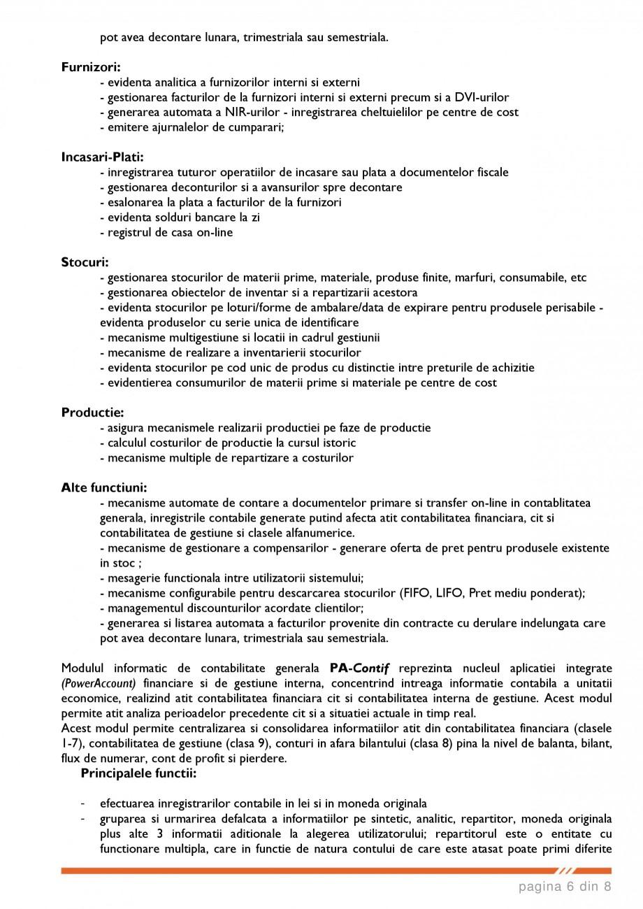 Catalog, brosura SCOP-C - Sistem pentru conducerea si organizarea productiei in constructii si instalatii SOFTEH PLUS Sistemul ERP - Planificarea Resurselor Intreprinderii SOFTEH PLUS  de plata preselectate de catre utilizator; posibilitatea reordonarii resurselor afisate in extrase ... - Pagina 6