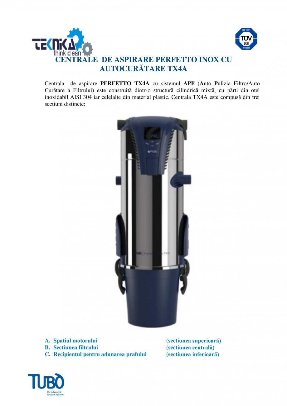 Pagina 1 - Aspirator central Perfeto Inox cu autocuratare TUBO TX4A Fisa tehnica Romana CENTRALE DE ...