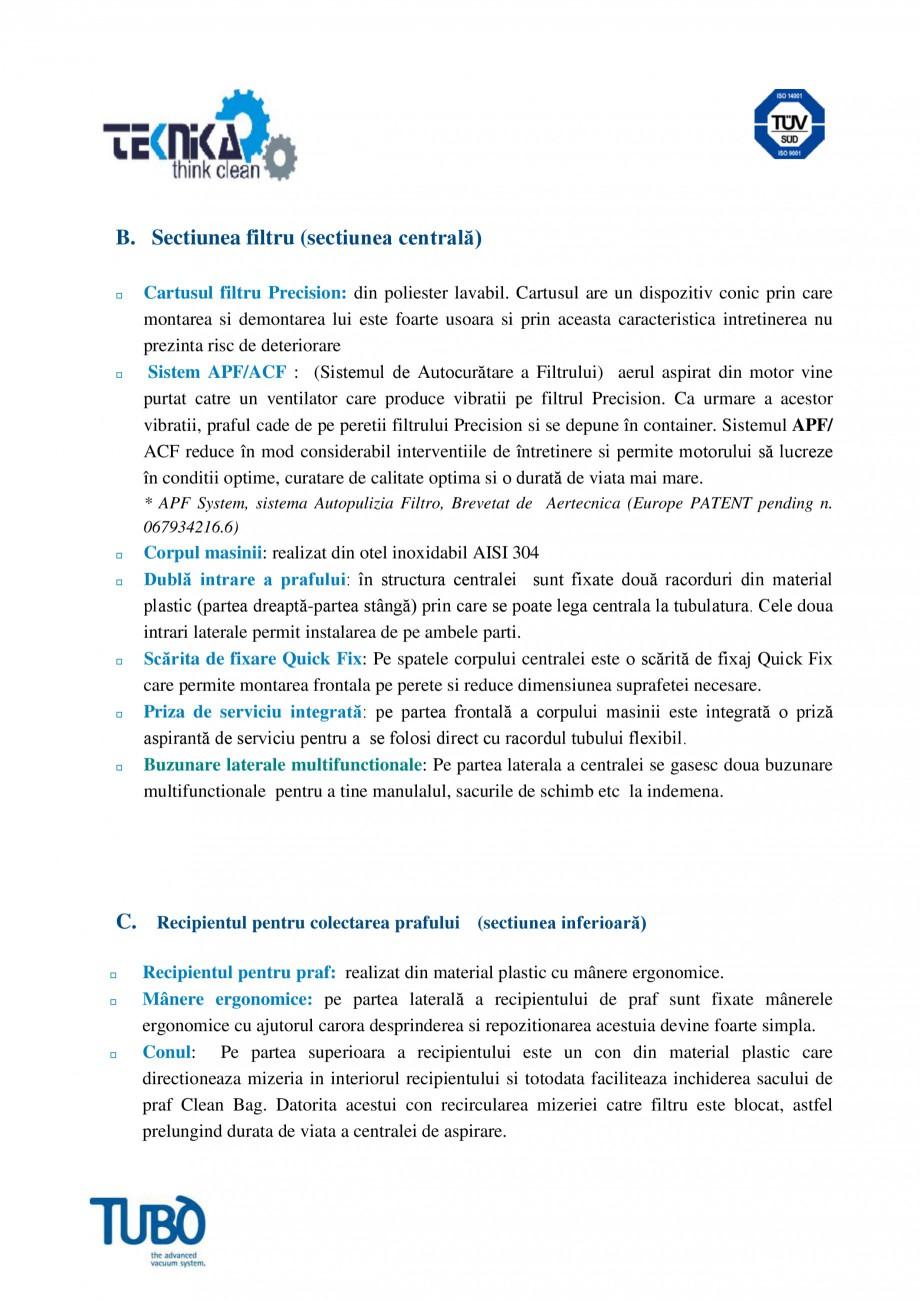 Pagina 3 - Aspirator central Perfeto Inox cu autocuratare TUBO TX4A Fisa tehnica Romana ul de praf...