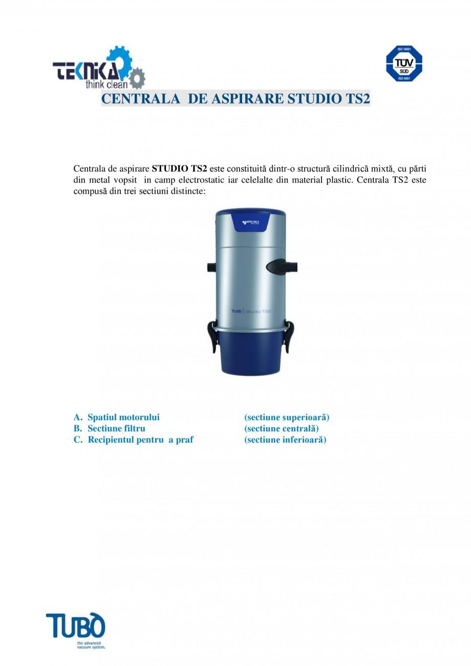 Pagina 1 - Aspirator central TUBO TS2 Fisa tehnica Romana CENTRALA DE ASPIRARE STUDIO TS2  Centrala ...