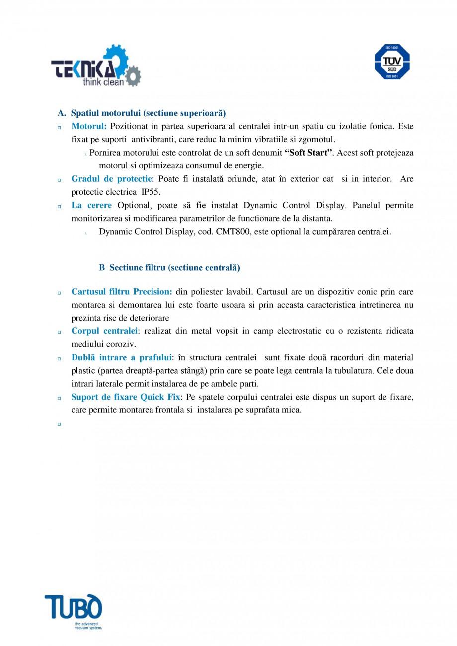 Pagina 2 - Aspirator central TUBO TS2 Fisa tehnica Romana metrilor de functionare de la distanta....