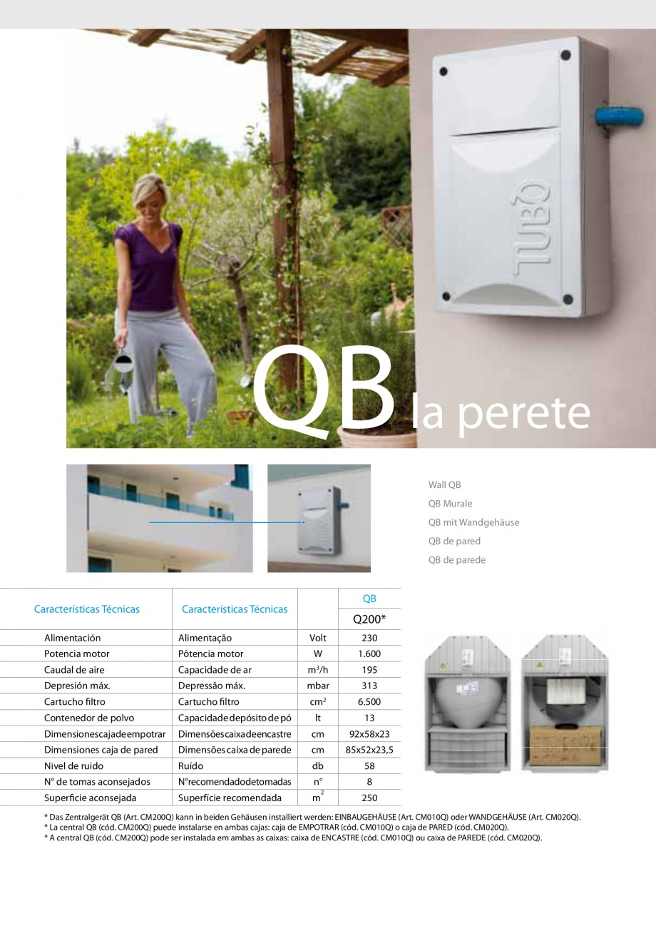 Pagina 5 - Aspiratoare centrale  QB TUBO QB Q200, QB BUILT-IN, QB WALL, QB WALL KIT Fisa tehnica...