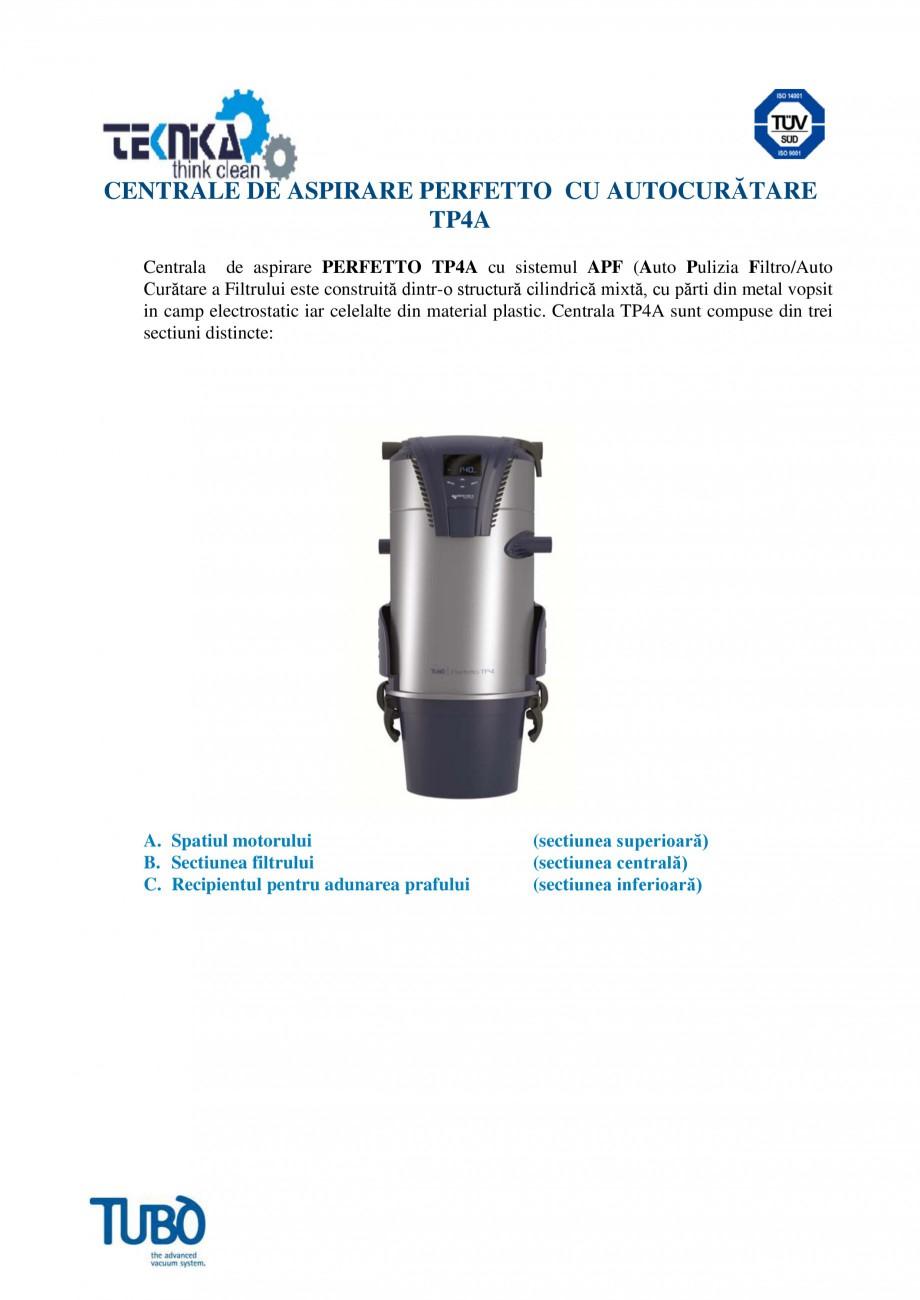 Pagina 1 - Aspirator central TUBO TP4A Fisa tehnica Romana CENTRALE DE ASPIRARE PERFETTO CU...