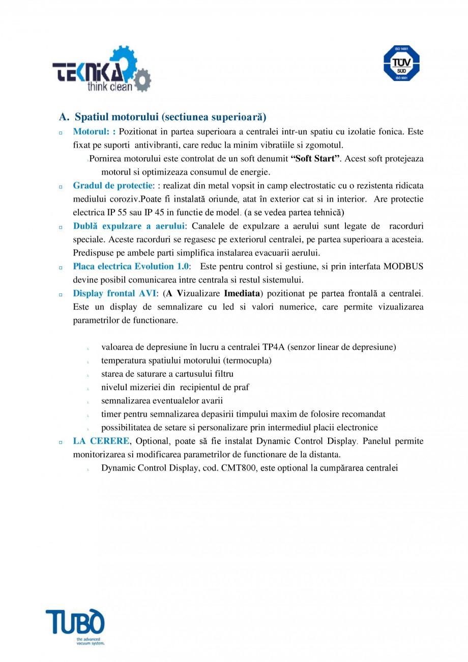 Pagina 2 - Aspirator central TUBO TP4A Fisa tehnica Romana nde, atat în exterior cat si in interior...