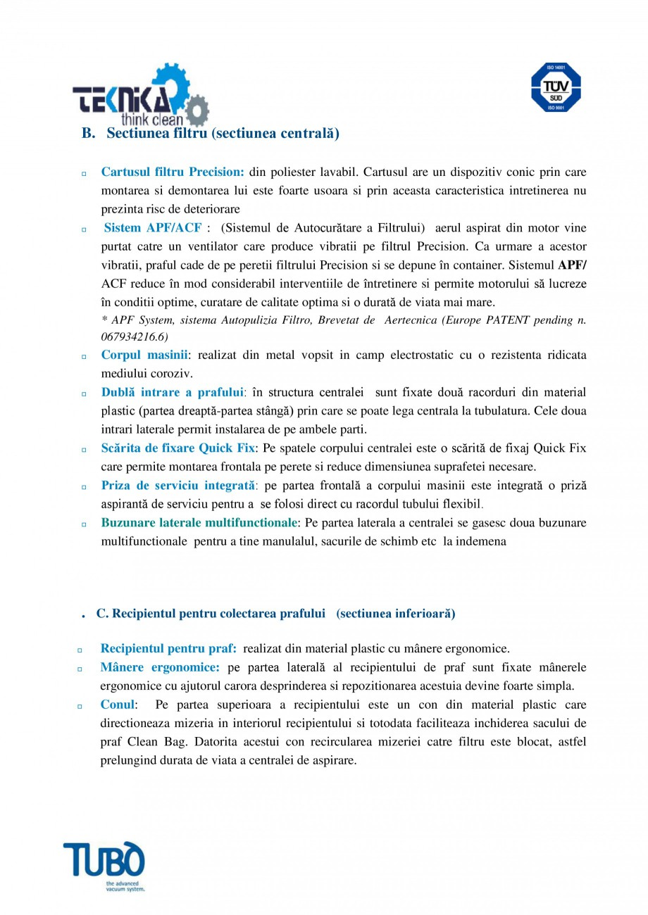 Pagina 3 - Aspirator central TUBO TP4A Fisa tehnica Romana  timer pentru semnalizarea depasirii...