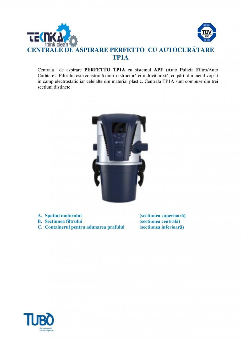 Pagina 1 - Aspirator central TUBO TP1A Fisa tehnica Romana CENTRALE DE ASPIRARE PERFETTO CU...
