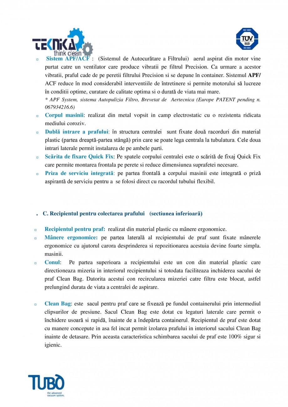 Pagina 3 - Aspirator central TUBO TP1A Fisa tehnica Romana  timer pentru semnalizarea depasirii...