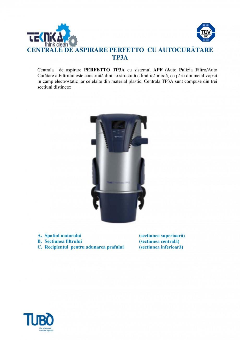 Pagina 1 - Aspirator central TUBO TP3A Fisa tehnica Romana CENTRALE DE ASPIRARE PERFETTO CU...