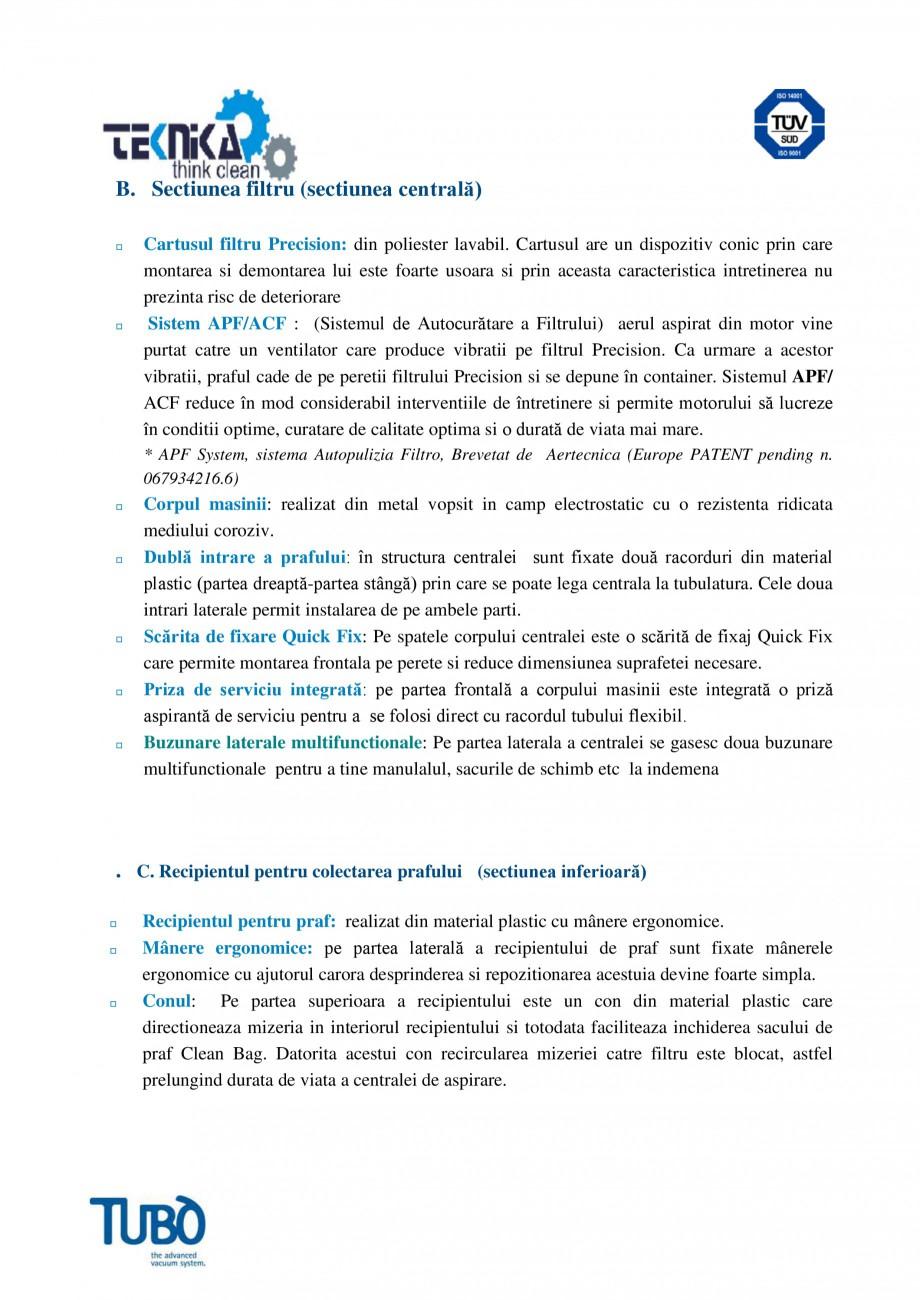 Pagina 3 - Aspirator central TUBO TP3A Fisa tehnica Romana  timer pentru semnalizarea depasirii...