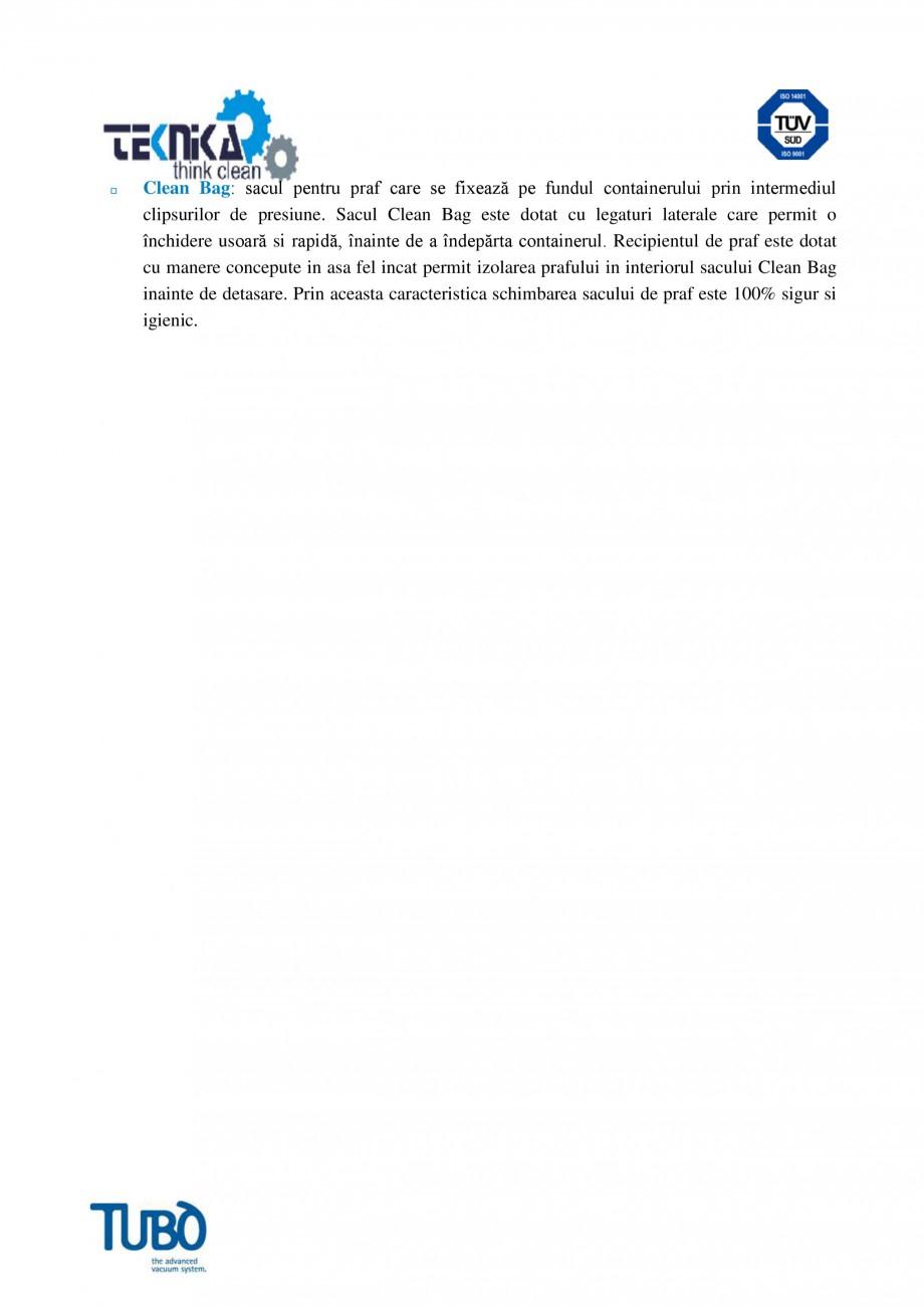 Pagina 4 - Aspirator central TUBO TP3A Fisa tehnica Romana interventiile de întretinere si permite ...