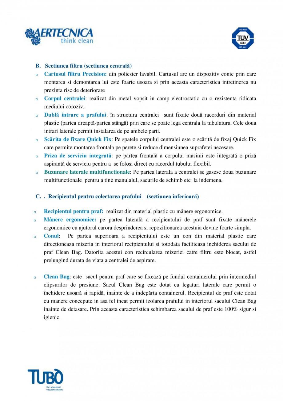 Pagina 3 - Aspirator central TUBO TP4 Fisa tehnica Romana a si modificarea parametrilor de...