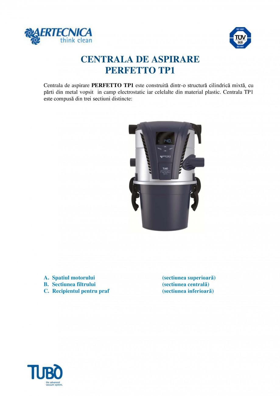 Pagina 1 - Aspirator central TUBO TP1 Fisa tehnica Romana CENTRALA DE ASPIRARE PERFETTO TP1 Centrala...