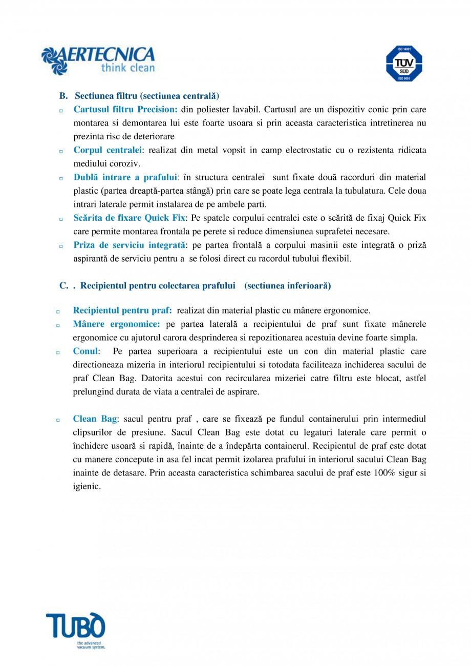 Pagina 3 - Aspirator central TUBO TP1 Fisa tehnica Romana dificarea parametrilor de functionare de...