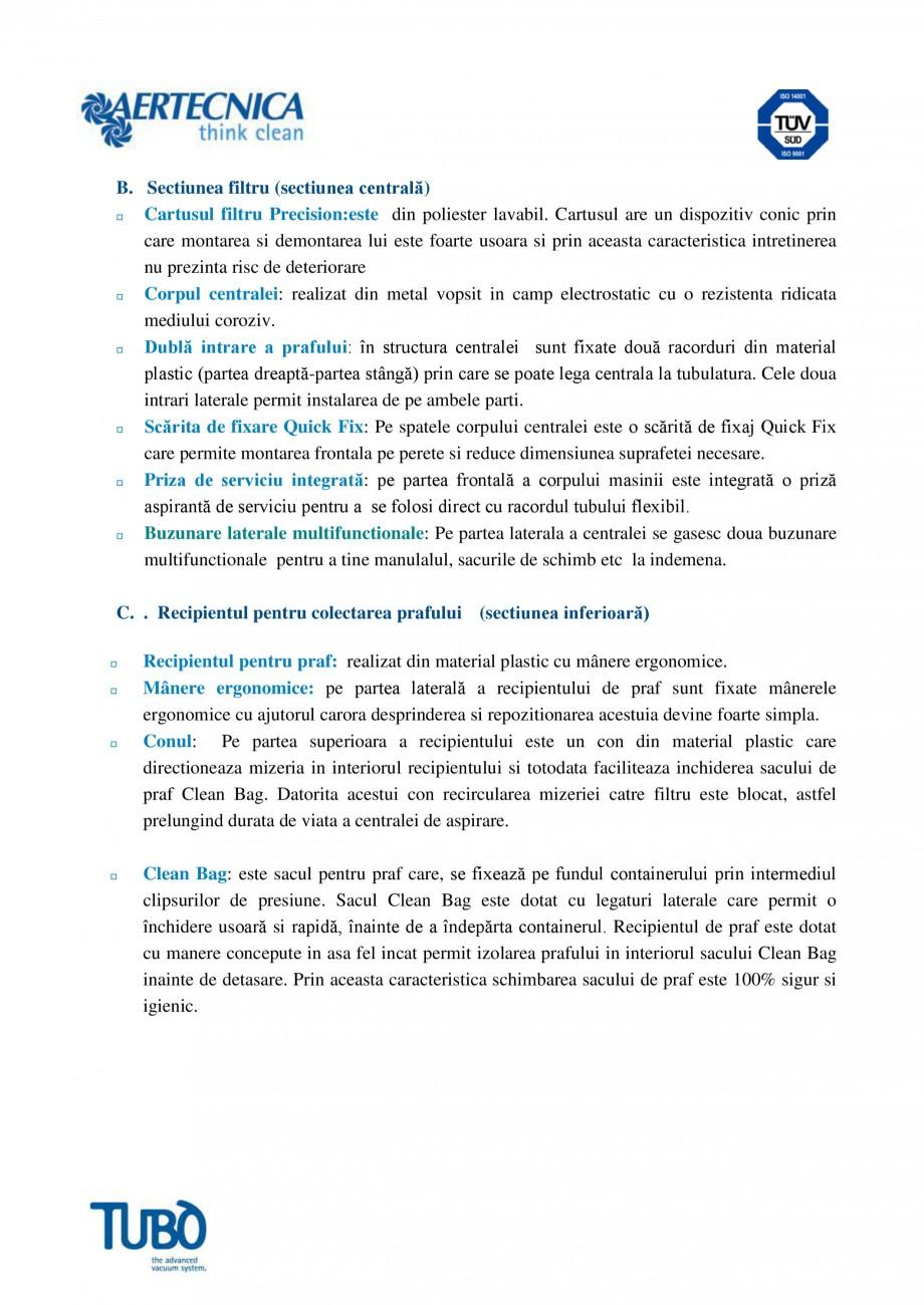 Pagina 3 - Aspirator central TUBO TP3 Fisa tehnica Romana modificarea parametrilor de functionare de...