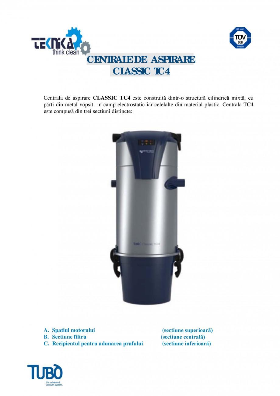 Pagina 1 - Aspirator central Classic TUBO TC4 Fisa tehnica Romana CENTRALE DE ASPIRARE CLASSIC TC4...