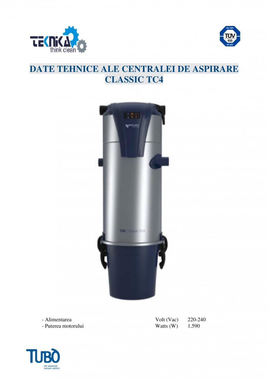 Pagina 4 - Aspirator central Classic TUBO TC4 Fisa tehnica Romana : Pe partea superioara a...