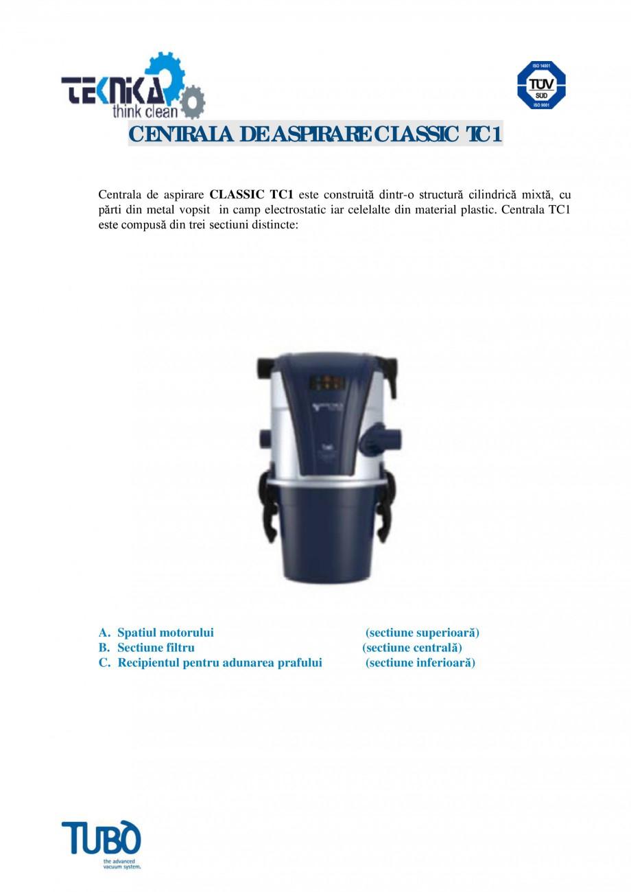Pagina 1 - Aspirator central Classic TUBO TC1 Fisa tehnica Romana CENTRALA DE ASPIRARE CLASSIC TC1...