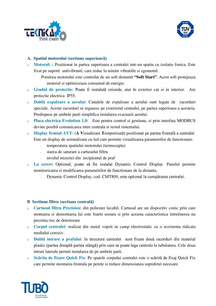 Pagina 2 - Aspirator central Classic TUBO TC2 Fisa tehnica Romana acorduri se regasesc pe exteriorul...