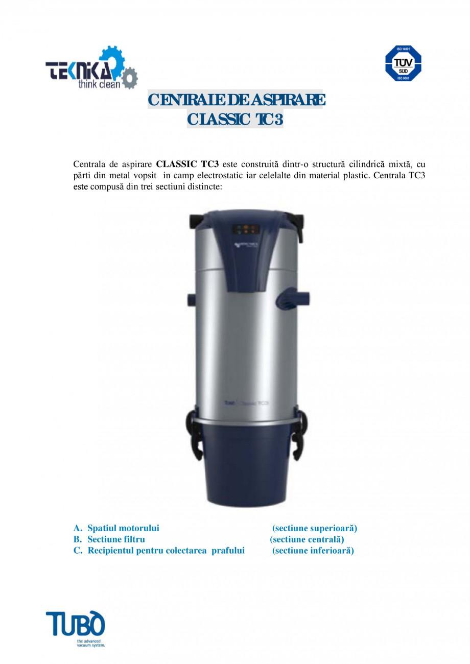 Pagina 1 - Aspirator central Classic TUBO TC3 Fisa tehnica Romana CENTRALE DE ASPIRARE CLASSIC TC3...
