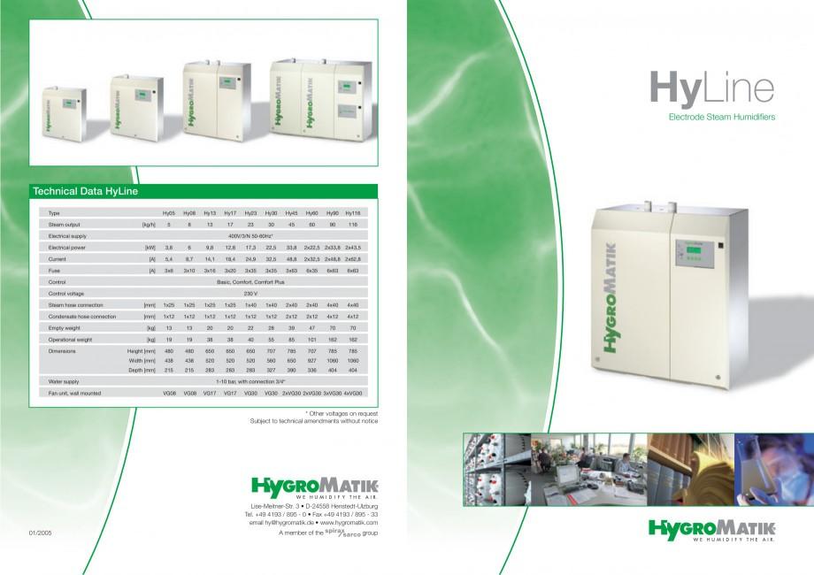 Pagina 1 - Umidificator cu aburi HYGROMATIK HyLine Fisa tehnica Engleza HyLine Electrode Steam...