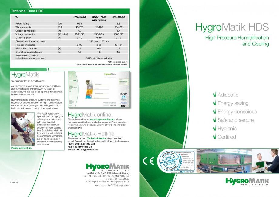 Pagina 1 - Umidificator cu atomizare HYGROMATIK HDS Fisa tehnica Engleza Technical Data HDS Typ ...