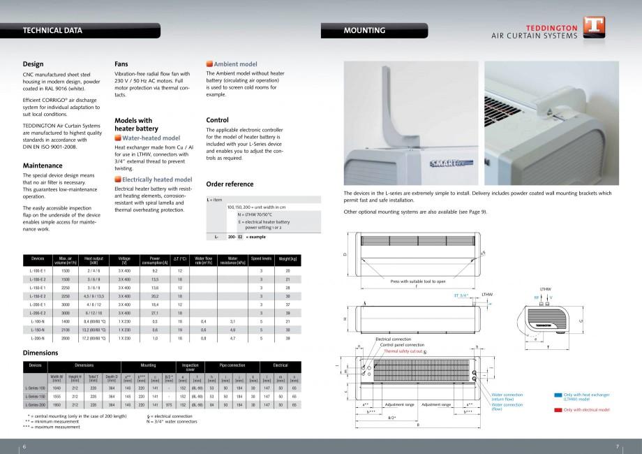 Pagina 4 - Perdea de aer pentru spatii comerciale si birouri TEDDINGTON L-SERIES Fisa tehnica...