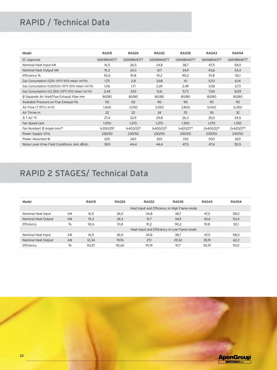 Pagina 1 - Aeroterma pe gaz APEN RAPID Fisa tehnica Engleza RAPID / Technical Data  Model  RA015 ...