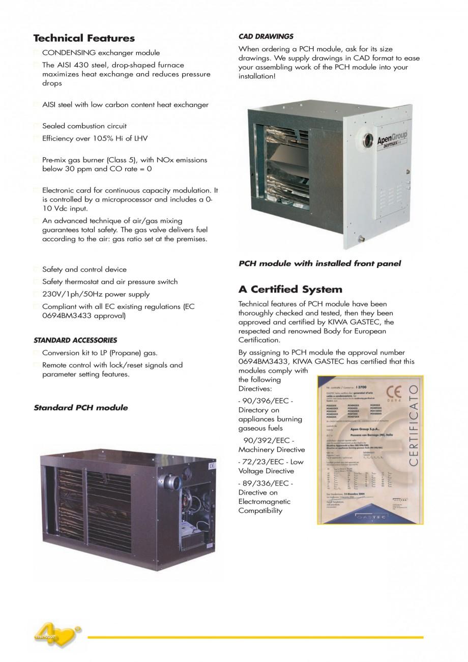 Pagina 4 - Generatoare de aer cald incorporabile APEN PCH Fisa tehnica Engleza reliable product. ...