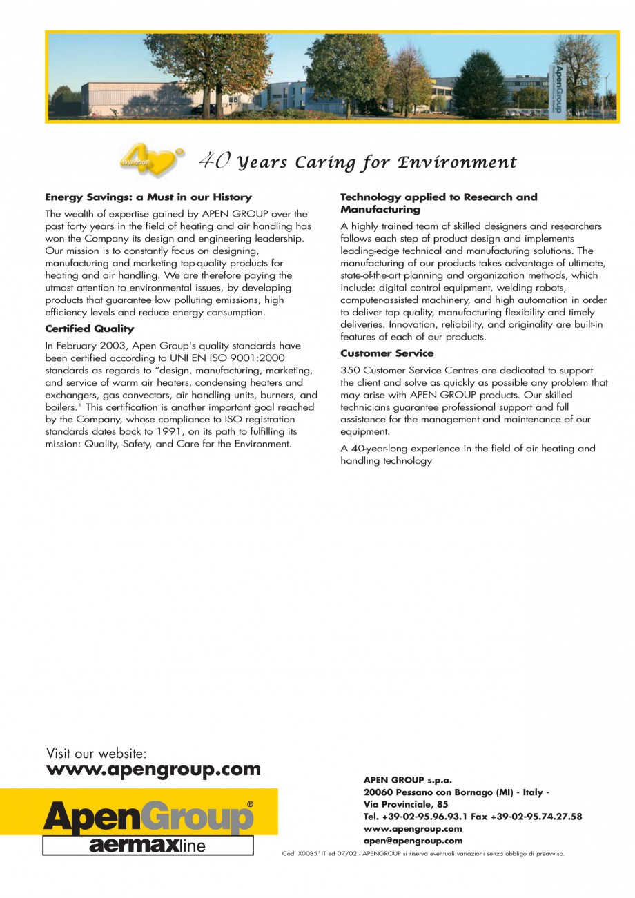Pagina 8 - Generatoare de aer cald incorporabile APEN PCH Fisa tehnica Engleza rective - 89/336/EEC ...
