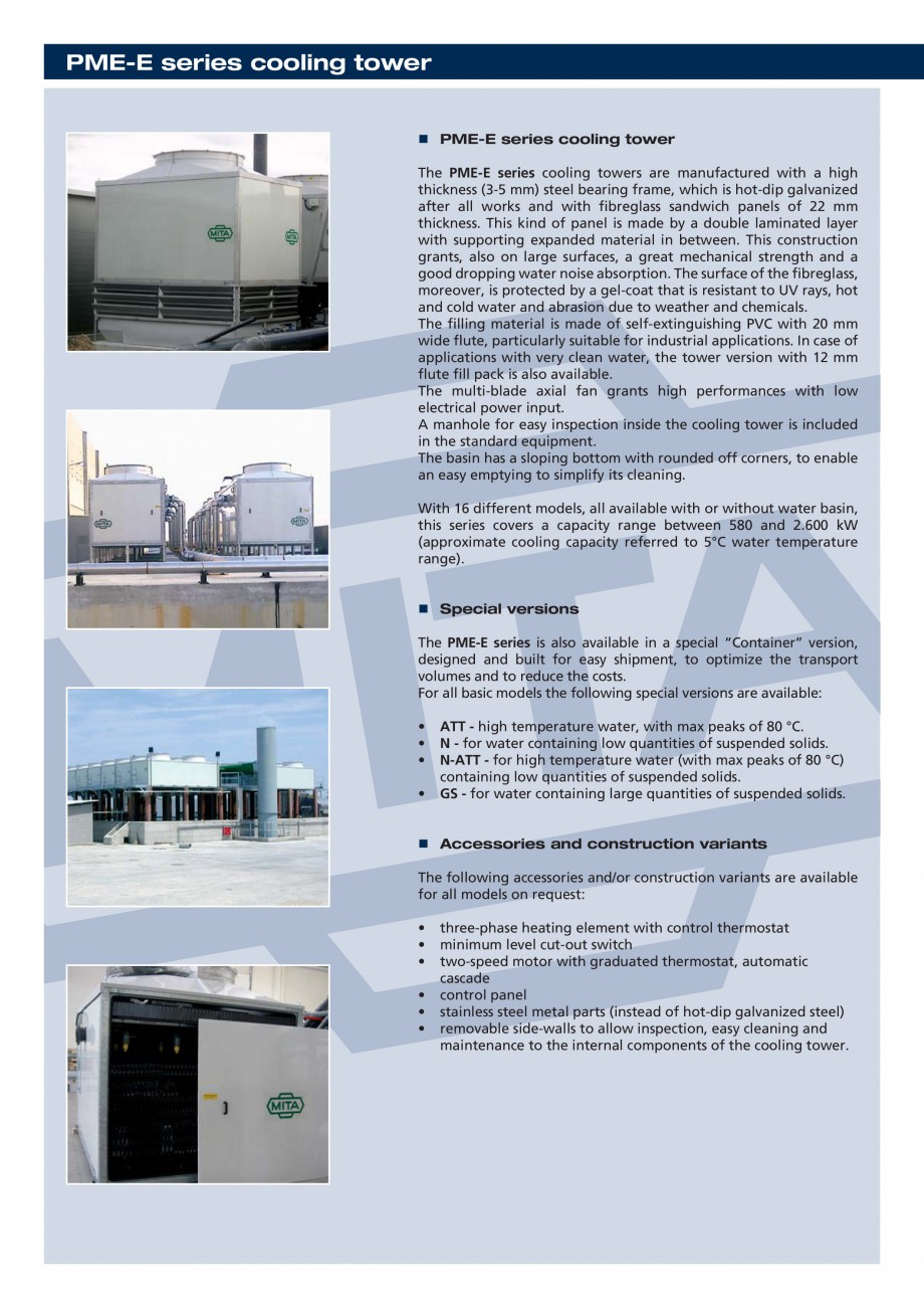 Pagina 2 - Turnuri de racire cu circuit deschis MITA PME-E Fisa tehnica Engleza ctrical power input....