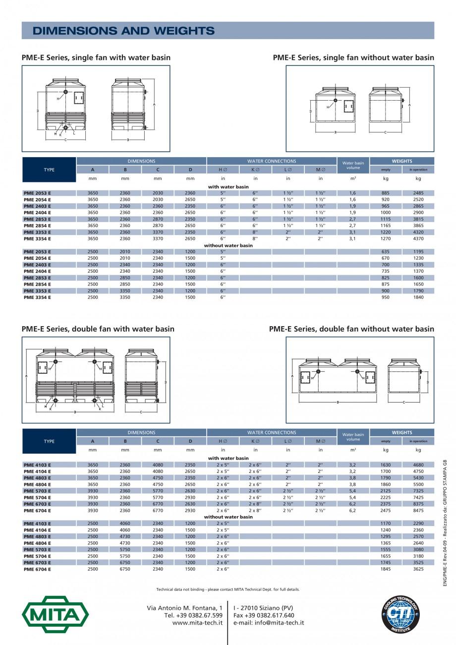Pagina 5 - Turnuri de racire cu circuit deschis MITA PME-E Fisa tehnica Engleza  • high...