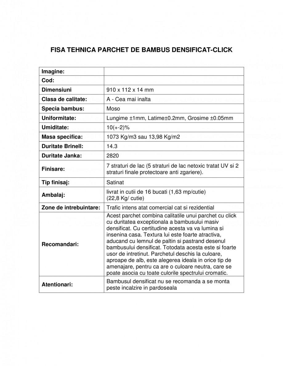 Pagina 1 - Parchet bambus densificat cu click CLASS BAMBUS Fisa tehnica Romana FISA TEHNICA PARCHET ...