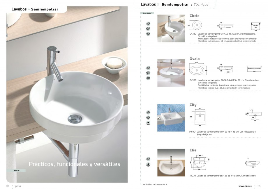 Catalog brosura obiecte sanitare seturi gala arq for Lavamanos gala