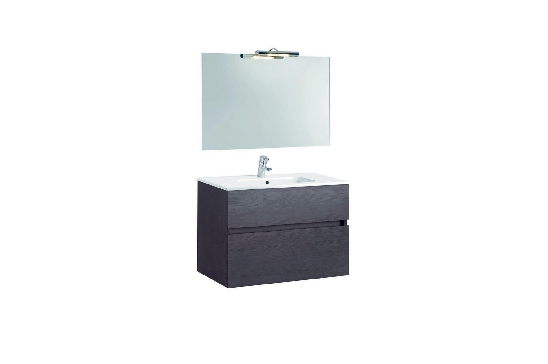 Mobilier Jade 80 cm negru cu lavoar Smile si oglinda cu spot GALA - Poza 10