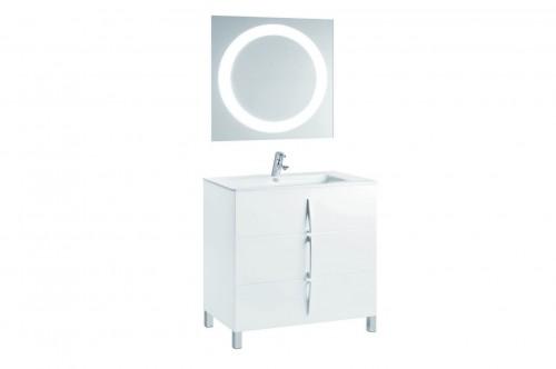 Mobilier alb 80 cm CUARZO 3C cu lavoar Emma si oglinda cu lumina rotunda GALA - Poza 2